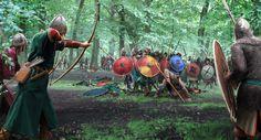 Saxon Ambush by Robbie McSweeney on ArtStation. Vikings, Medieval Art, Medieval Fantasy, Military Art, Military History, Ottonian, Carolingian, Anglo Saxon, Dark Ages
