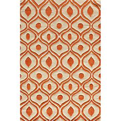 Hand Tufted Modern Waves Orange Polyester Rug (5'0 x 7'6) | Overstock.com Shopping - Great Deals on 5x8 - 6x9 Rugs