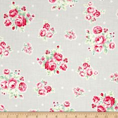Lecien Flower Sugar Medium Floral Toss w/ White Tiny Flowers Grey from @fabricdotcom  Designed by Lecien, this cotton print fabric is perfect for quilting, apparel and home decor accents. Colors include shades of pink, shades of green, white and grey.