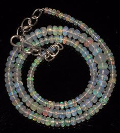 """43 CTW 3-5.5 MM 16""""NATURAL GENUINE ETHIOPIAN WELO FIRE OPAL BEADS NECKLACE-95076"""