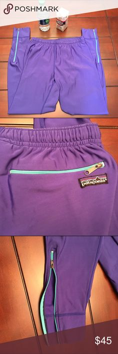 Patagonia Purple Workout Tights, Medium Patagonia Purple Workout Tights, Medium  So cute with side zippers at the bottom of each leg, plus a zippered pocket in back. Excellent like-new condition. ☺️ Patagonia Pants Leggings