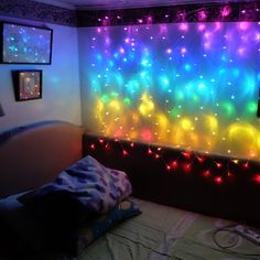 Connect Rainbow led curtain icicle string lights led fairy lights Christmas lamps Icicle Lights Xmas Wedding Party Decoration 2 Pieces for Russia/Rainbow Curtain Led Fairy Lights, Led String Lights, Bedroom Lighting, Bedroom Decor, Icicle Lights Bedroom, Bedroom Ideas, Rainbow Curtains, Christmas Lamp, Christmas Lights