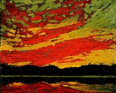 Tom Thomson - Sunset - Canada, Canadian Oil Painting - Group of Seven Art Print by ArtExpression - X-Small Emily Carr, Group Of Seven Artists, Group Of Seven Paintings, Canadian Painters, Canadian Artists, Henri Matisse, Landscape Art, Landscape Paintings, Nature Paintings