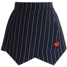 Chicwish Lovely Heart Stripe Flap Skorts in Navy (140 PEN) ❤ liked on Polyvore featuring skirts, mini skirts, bottoms, shorts, skort, blue, blue mini skirt, navy skort, wrap mini skirt and wrap skort