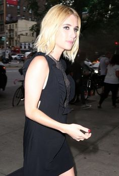 Actress Emma Roberts is spotted outside The Bowery Hotel in New York City on July 11, 2016. Emma has been out promoting her upcoming movie 'Nerve'.