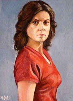 Original ACEO Dr. Elizabeth Weir Torri Higginson Stargate Atlantis by V.Geo