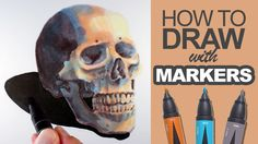 Learn how to draw with markers in this lesson that features a drawing of a colorful skull. #drawing #markers #Prismacolor