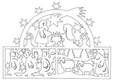 nativity - would love to cut this out in black and make a window sun catcher out of it, or cut out the individual characters, mount on sticks and make them into shadow puppets