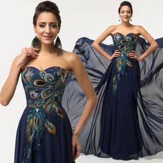 PLUS SIZE Peacock  Formal Evening Women Gown Prom Party Chiffon Bridesmaid Dress #GraceKarin #BallGown #Cocktail