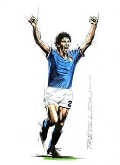 Elation: Paolo Rossi's emotion captured as he scores for Italy in 1982
