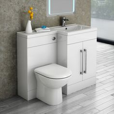 Combo bog and sink to fit closer together to make more space for shower!