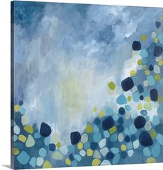Contemporary abstract painting using tones of blue with circular shapes in various repeating colors toward the bottom of the image. Bounce Wall Art by Hutton Art from Great BIG Canvas.