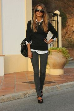 Work Casual outfit: white collar shirt, black sweater, slim pants and heels