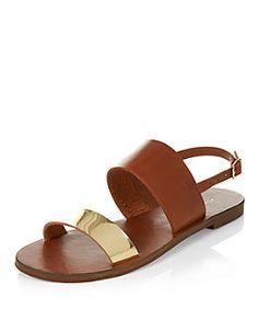 Sandales fauves à bride métallisée | New Look