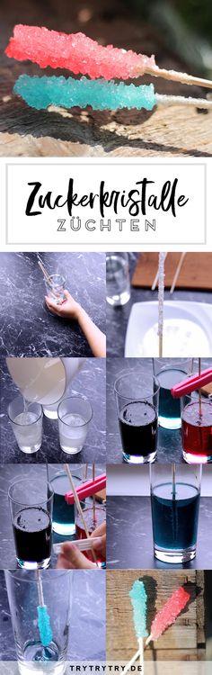 Farbige Zuckerkristalle / Rock Candy selbermachen