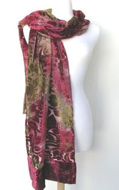 Hand Dyed Burnout Velvet Scarf Shawl Stole Wrap Table Runner Rose Pink Olive Green Ashiana. $70.00