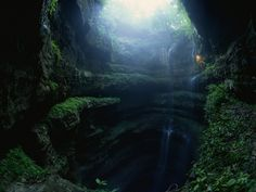 The Neversink Pit Sinkhole is located near Scotsboro, Alabama, and it's one of the most-photographed sinkholes in the world because of its beautiful fern-covered ledges and waterfalls. It is a natural limestone cavity leading to a cave network. The hole is about 40 feet wide at the top, but it expands to 100 feet at its bottom, which is 162 feet from the ground.