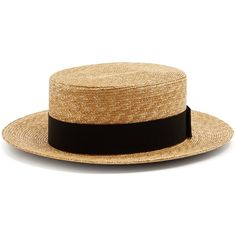 Prada Straw boater hat (6.132.905 IDR) ❤ liked on Polyvore featuring accessories, hats, black, crown hat, bow hat, prada, prada hat and band hats