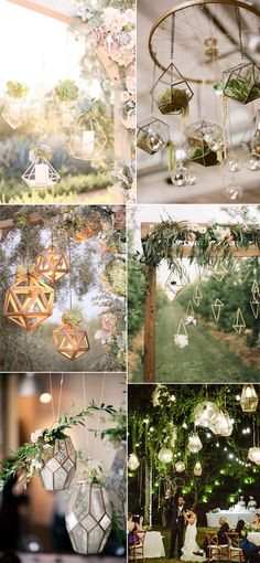 geometric terrarium hanging decor ideas for modern weddings 2017