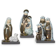 """Our modern glazed ceramic Nativity scene includes the Holy Family, Three Kings and a Shepherd. Add a tealight, sold separately, to each piece for a peaceful glow. Holy Family: 6 3/4""""h, 3 1/2""""w.  Shepherd: 6 1/4""""h, 4""""w.  Three Kings: 6 1/4""""w, 5""""w.  Price:  $70.00/set of 3"""