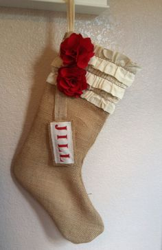 Gorgeous! Personalized Shabby Chic Christmas Stocking Flower with Ruffles. $27.00, via Etsy.