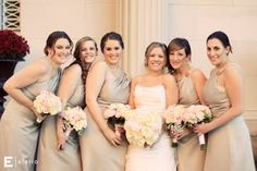 These girls wore taupe and carried muted colored bouquets.  Scott wedding, photo by Elario Photography.