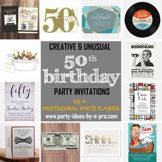 Tips and suggestions for tasteful and fun birthday invitations—by a professional party planner 50th Birthday Party Ideas For Men, 50th Birthday Party Invitations, Photo Invitations, Printable Invitations, Boy Birthday, Birthday Parties, Fifties Party, Balloon Invitation, Sticky Labels