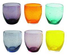 Set de 6 vasos de vidrio soplado Acapulco