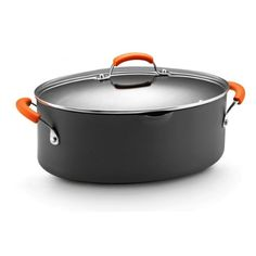 Rachael Ray Hard Anodized II Nonstick Dishwasher Safe 8-Quart Covered Oval Pasta Pot, Orange Unique oval shape - the unique oval shape of this pasta pot allows you to fit it on one burner without giving up all the others. Hard-anodized construction - hard-anodized cookware is exceptionally durable,plus, it heats quickly and evenly, reducing -inchhot spots-inch that can burn foods. Dishwasher safe - a clear coat exterior makes this cookware dishwasher safe for convenience. Nonstick Interior…