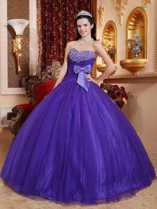 Beading Sweetheart Tulle and Taffeta for Bows Purple Quinceanera Dresses