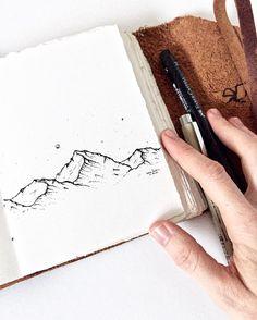 Mountain sketch by Deanna Jensen @badonhill on Instagram