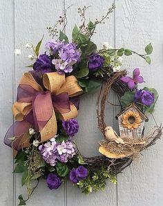 Rustic Spring Wreath, Elegant Wreath, Purple Wreath, Birdhouse Wreath, Hydrangea Wreath, Burlap Bow, Mother's Day, Valentine's Day Gift by TheChicyShackWreaths on Etsy