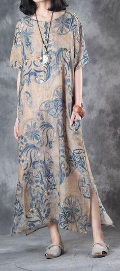 baggy summer blue prints linen dresses oversize vintage sundress short sleeve maxi dress side open T Linen Dresses, Cotton Dresses, Casual Dresses, Summer Dresses, Sun Dresses, Maxi Dresses, Fashion Dress Up Games, Fashion Dresses, Fashion Clothes