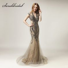 2018 Unique Shining Crystal Celebrity Dresses in Stock Luxury Women Fashion Tulle Dress Long V-Neck Gala Party Gowns Cheap Evening Dresses, Mermaid Evening Dresses, Evening Gowns, Celebrity Inspired Dresses, Celebrity Dresses, Long Mermaid Dress, Dress Long, Long Dresses, Formal Dress