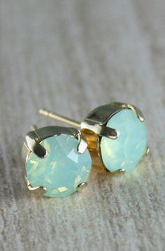 Green earrings Mint Green Crystal Stud