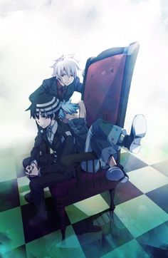 My Favrite Show Souleater Funny Black Star With The Blue Hair Cute Soul With The White Hair Amd Postitive Death The Kid With The Strips <3
