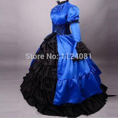 gothic Lolita dress halloween costumes for women adult princess belle blue Victorian Southern ball gown victorian dress custom