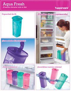 Para este clima caluroso, los Aqua Fresh de Tupperware te ayudan a mantener tu agua fresca y sin ocupar tanto espacio en tu refrigerador.