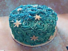 disney frozen rosette buttercream birthday cake snowflakes