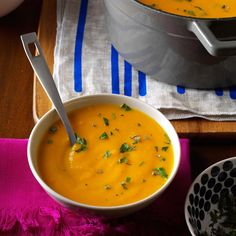 Roasted Autumn Vegetable Soup Recipe -Roasting sweet potatoes, carrots and parsnips brings out their best features. Blend them, and you have a warm, healthy soup for a cool fall night. —Stephanie Flaming, Woodland, California