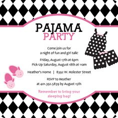harlequin pattern pink and black pajama slumber party invitation by purpletrailcom