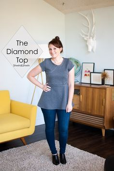 The Diamond Top    Quilted Knit Peplum    Unbiased Collection