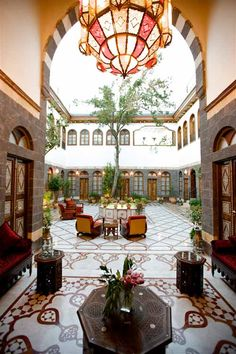 A quiet urban hideaway luxury Boutique Hotel in Old Damascus tucked in a historical neighborhood of churches, mosques, old bazaars and winding streets. Moroccan Curtains, Moroccan Home Decor, Moroccan Interiors, Moroccan Style, Moroccan Bedroom, Modern Moroccan, Moroccan Lanterns, Courtyard Design, Courtyard House