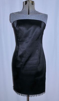 Laundry Black Satin Party Cocktail Dress 6 Petite Bombshell Beaded Hem Sexy! #Laundry #Strapless #Cocktail