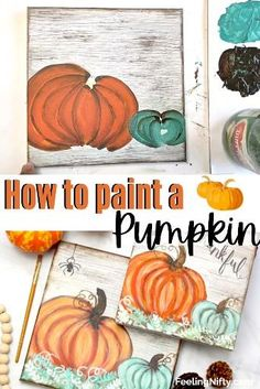 Pumpkin Canvas Painting, Halloween Canvas Paintings, Canvas Painting Tutorials, Halloween Painting, Autumn Painting, Autumn Art, Diy Painting, Easy Painting For Kids, Decorative Painting Projects