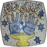 Another Hand Print Menorah - Hannukah Plate