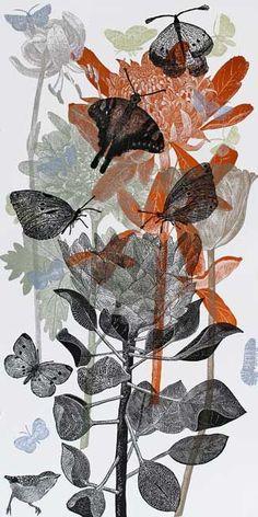 Dianne Fogwell, lino on rag board, 'hover', Linocut Prints, Art Prints, Grafik Design, Botanical Art, Collage Art, Printmaking, Art Projects, Illustration Art, Artsy