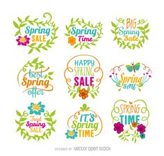 Floral spring discount vectors in multiple colors. The designs have flowers and leaves framing them. Perfect and original way to grab your