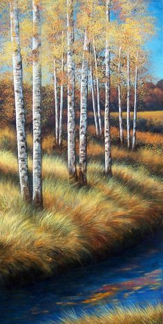Birch Trees, original painting, landscape, forest, river, #1 of a triptych