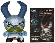 """Bay Fog Brawler - Blue Horn by D. Ross Scribe ~3"""" Figure: Dunny 2013 Side Show Series [VERY RARE][07] Kidrobot 2012 Dunny"""
